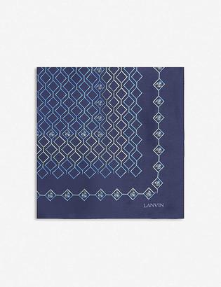 Lanvin Geometric silk tie and pocket square set
