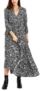 INC International Concepts Inc Printed Puff-Sleeve Maxi Dress, Created for Macy's