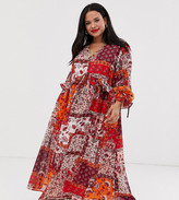 Neon Rose Plus maxi smock dress with button front in patchwork print