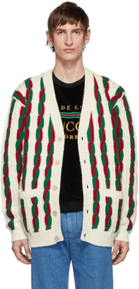 Gucci Off-White and Red Wool Cardigan