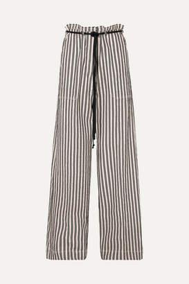 Ann Demeulemeester Belted Striped Cotton And Ramie-blend Wide-leg Pants - Ecru