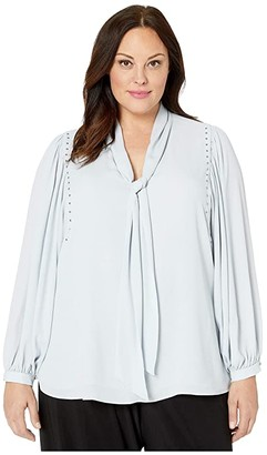 Vince Camuto Plus Size Long Sleeve Puff Shoulder Embellished Tie Neck Blouse (Silverstone) Women's Clothing