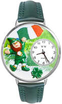 Whimsical Watches Personalized St. Patricks Day Womens Silver-Tone Bezel Green Leather Strap Watch
