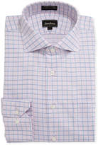 Neiman Marcus Non-Iron Dobby Grid Dress Shirt, Pink