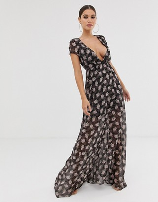 Club L London v plunge floral maxi dress-Navy