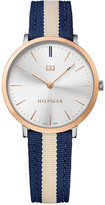 Tommy Hilfiger Women's Casual Sport Slim Navy and Beige Striped Nylon Strap Watch 35mm 1781747