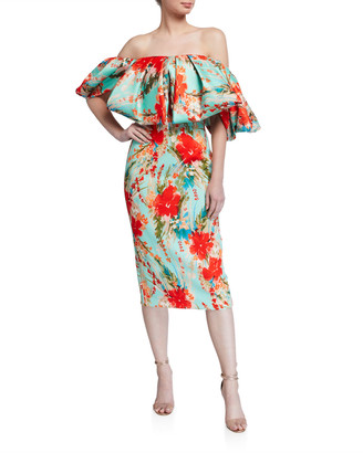 Badgley Mischka Floral Off-the-Shoulder Puff-Sleeve Sheath Dress