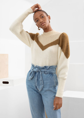 And other stories Colour Block Puff Sleeve Sweater