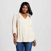 John Paul Richard JohnPaulRichard Women's Plus Size V-Neck Peasant Top Off White