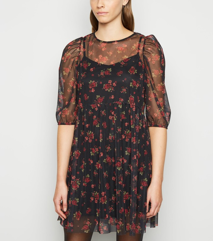 New Look Floral Mesh Mini Smock Dress
