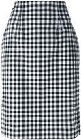 Blumarine gingham check pencil skirt - women - Cotton/Spandex/Elastane - 48
