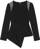 Roland Mouret Ebner Asymmetric Lace-Paneled Stretch-Crepe Top