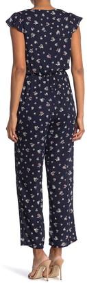 Collective Concepts Scoop Neck Short Sleeve Floral Print Straight Leg Jumpsuit