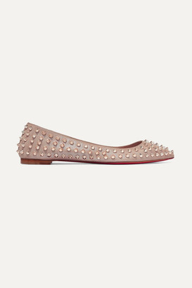 Christian Louboutin Ballalla Spiked Leather Point-toe Flats - Pastel pink