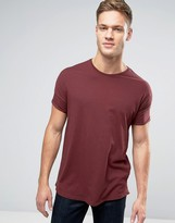 Pull&Bear Longline T-Shirt In Burgundy