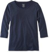 L.L. Bean Pima Cotton Shaped Jewelneck Tee, Three-Quarter-Sleeve Foulard Print