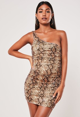 Missguided Beige Snake Print Slinky One Shoulder Ruched Bodycon Mini Dress