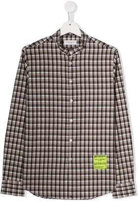 Paolo Pecora Kids TEEN snowboarding patch checked shirt