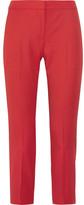 Alexander McQueen Cropped Grain De Poudre Wool Straight-leg Pants - Red