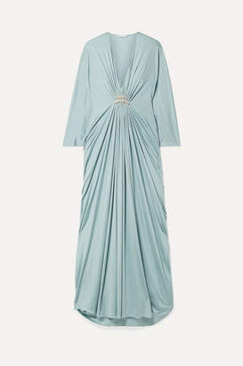 Reem Acra Draped Embellished Silk-jersey Maxi Dress - Mint