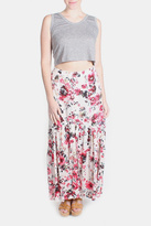 En Creme Pink Floral Maxi Skirt
