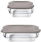 Anchor Hocking Anchor Embrace Glass Bake Set with Lids- Clear/Grey