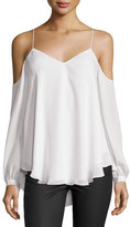 Haute Hippie Silk Cold-Shoulder Blouse, Ivory
