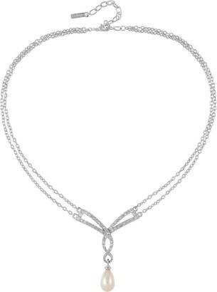 Susan Caplan Vintage 1980s Vintage Dorlan Faux Pearl Swarovski Crystal Necklace
