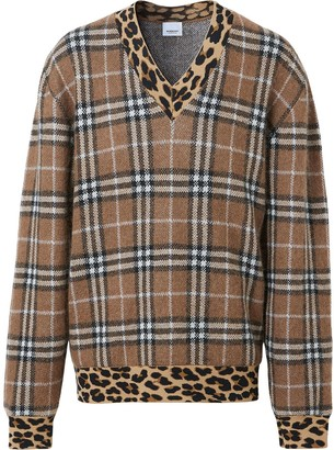 Burberry Leopard Detail Vintage Check Jumper