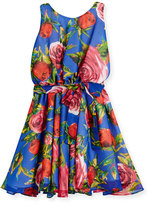 Helena Sleeveless Floral Georgette Circle Dress, Royal, Size 7-14