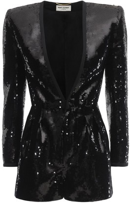 Saint Laurent Sequined Romper W/ Deep V Neck