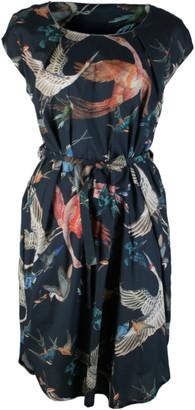 Format LOCK birds plain dress - S - Teal/Orange/Blue