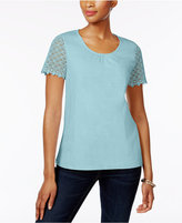 Charter Club Petite Cotton Crochet-Sleeve Top, Created for Macy's