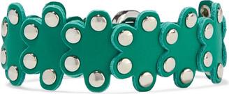 Red(V) Flower Puzzle Studded Leather Bracelet