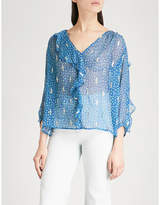 BA&SH Masha embroidered silk-blend top