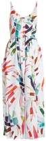 Mara Hoffman Xylophone White-print button-down midi linen dress