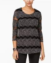 JM Collection Sequined Lace Illusion Top, Created for Macy's
