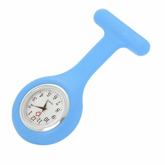 YEBIRAL Latest Fashion Unique Simple Silicone Nurse Watch Brooch Tunic Fob Watch with Free Battery Doctor Medical (Light Blue One Size)