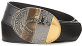 Maison Margiela Oval Mixed-Pattern Leather Belt, Black