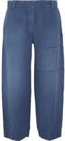 Burberry Cropped Brushed Ramie And Cotton-blend Pants - Mid denim