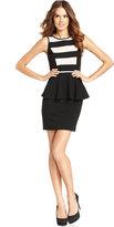 Kensie Dress, Sleeveless Striped Peplum Sheath