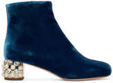 Miu Miu Blue Velvet Pearl & Crystal Boots