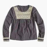 J.Crew Embroidered peasant top in plaid