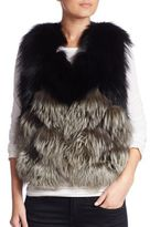Yves Salomon Colorblock Fox Fur, Leather & Silk Vest