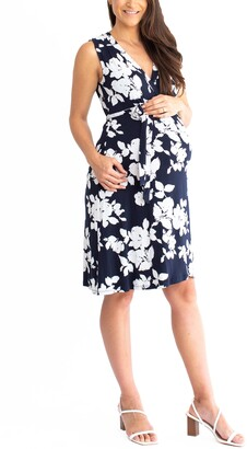 Angel Maternity Print Maternity Wrap Dress