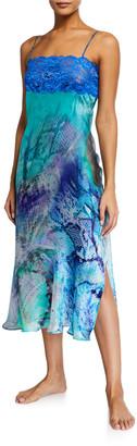 Christine Lingerie Long Silk Chemise w/ Lace Trim