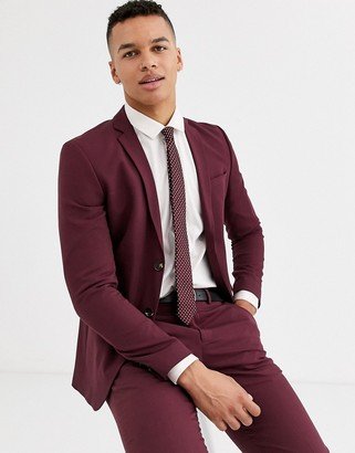 Jack and Jones stretch plain suit jacket in burgundy