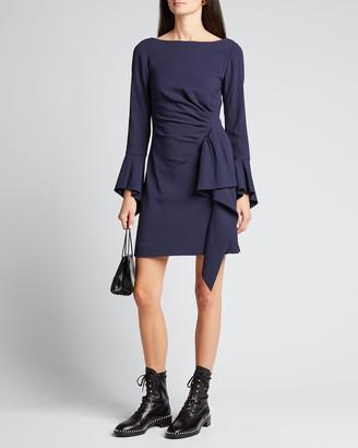 Jonathan Simkhai Crepe Ruffle Long-Sleeve Mini Dress