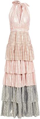LoveShackFancy Tiered Metallic Gingham Silk-blend Halterneck Maxi Dress