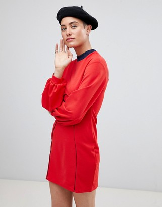Asos Design Seam Detail Mini Swing Dress With Bell Sleeve-Red